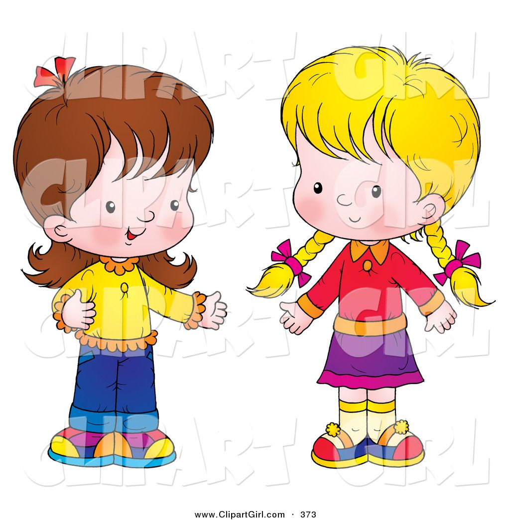 Clipart of children talking clipart library library Clip Art of a Pair of Little Girls Standing Together and Talking ... clipart library library