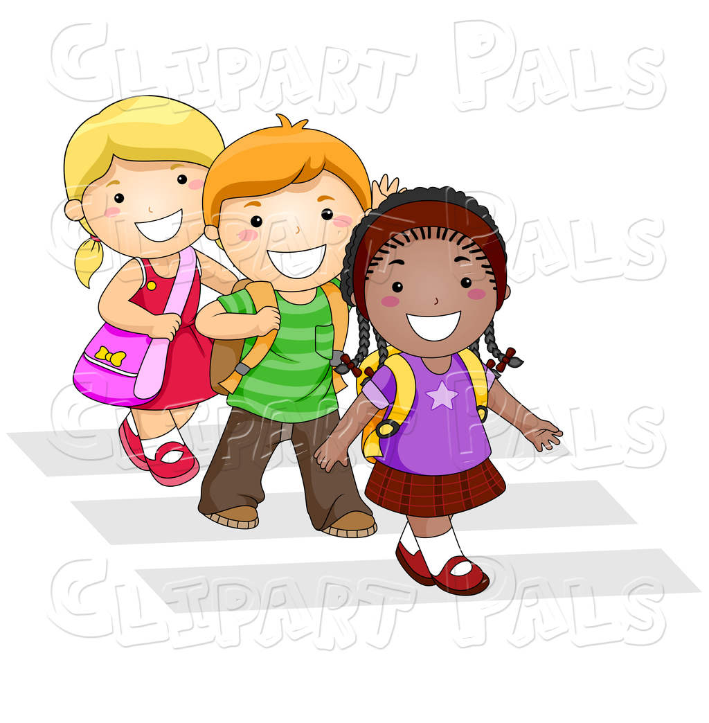 Clipart of children walking clip art freeuse download Kids Walking To School Clipart Crosswlk On Trio - Clipart1001 - Free ... clip art freeuse download