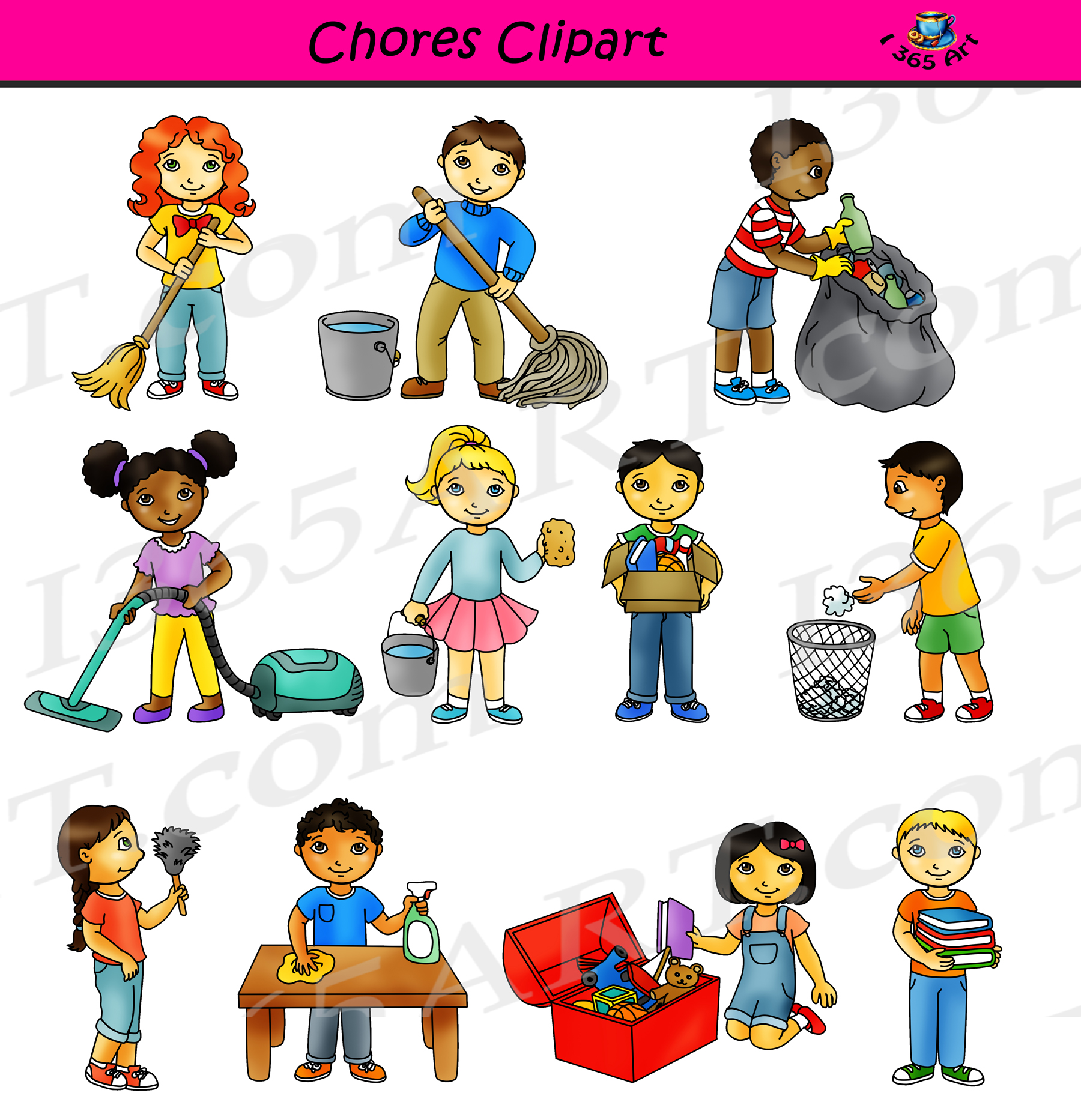 Clipart someone doing chores clip art black and white library Chores Clipart - Classroom Cleaning Commercial Graphics clip art black and white library
