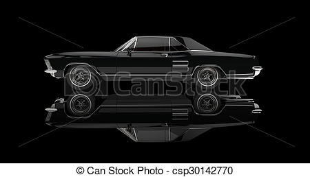 Clipart of classic american cars black and white clipart transparent download Classic American Car On Black clipart transparent download