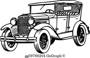 Clipart of classic cars image black and white download Old Car Clip Art - Royalty Free - GoGraph image black and white download