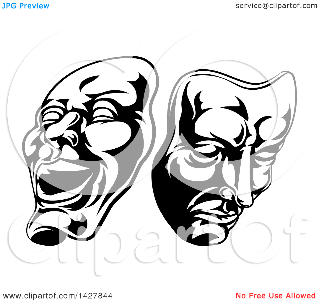 Clipart of comedian with arrow through head clip art black and white stock Clipart of Black and White Comedy and Tragedy Theater Masks ... clip art black and white stock