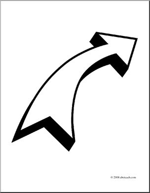 Clip art right coloring. Clipart of curved line arrow