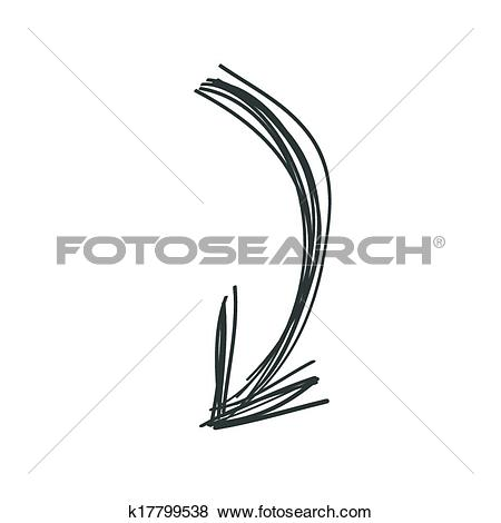 Clipart of curved line arrow. Clip art doodle in