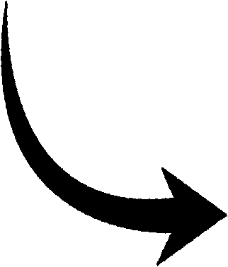 Clipart of curved line arrow. Black kid global down