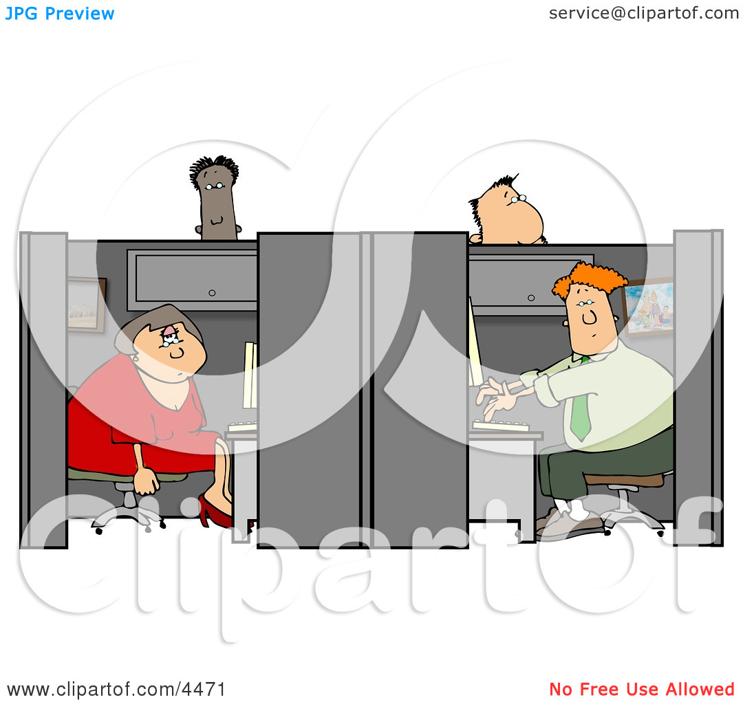 Clipart of customer service people graphic royalty free stock Customer Service People Working in Their Cubicles Clipart by ... graphic royalty free stock