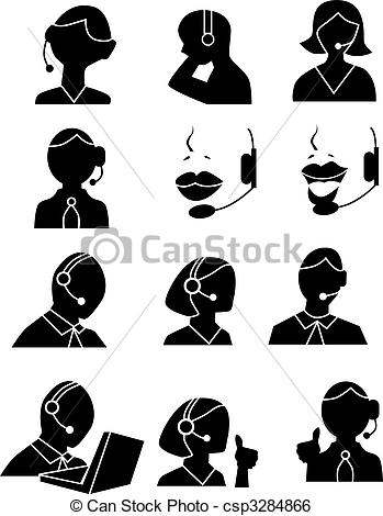 Clipart of customer service people clip art black and white library Clip Art Vector of Customer Service People Icons - Customer ... clip art black and white library
