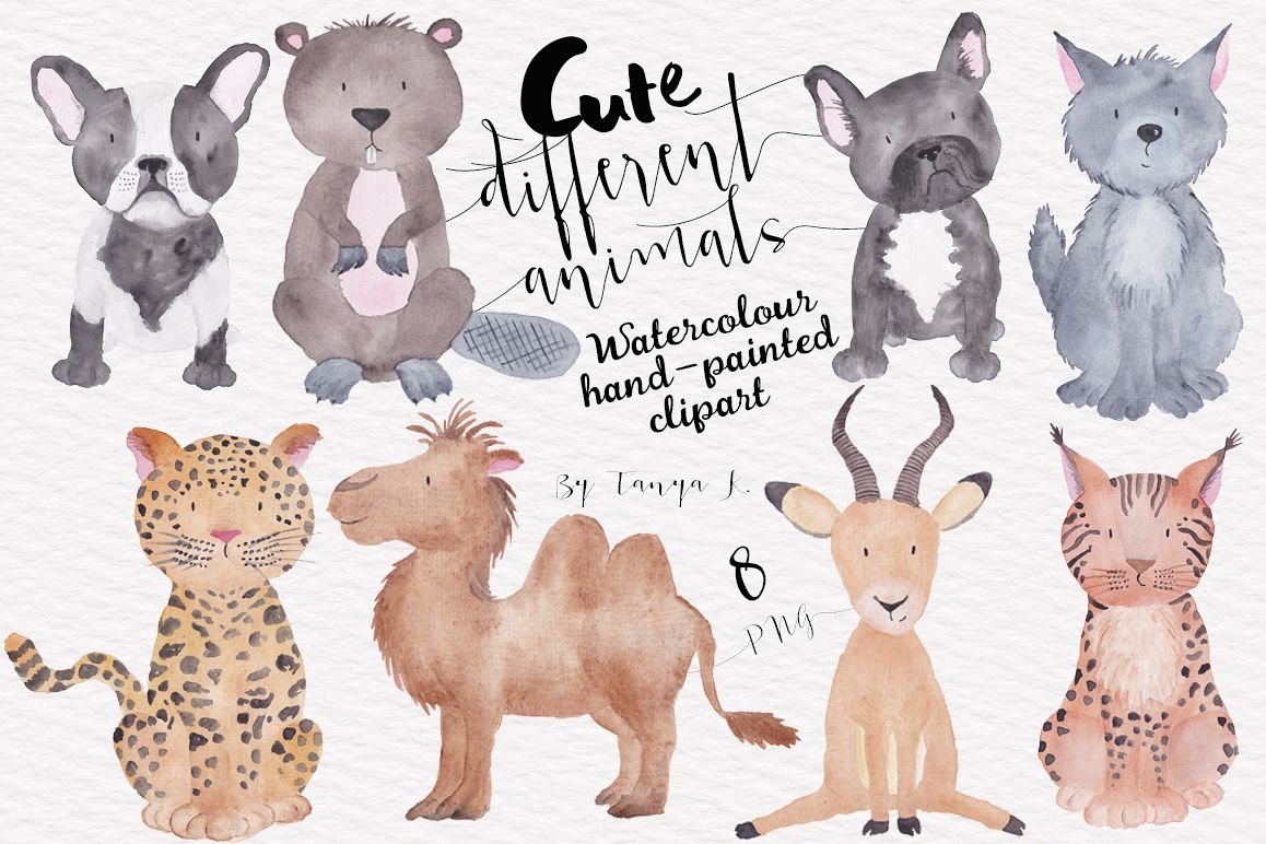 Clipart of different animals graphic free Cute Different Animals Watercolor Hand Painted Clipart graphic free