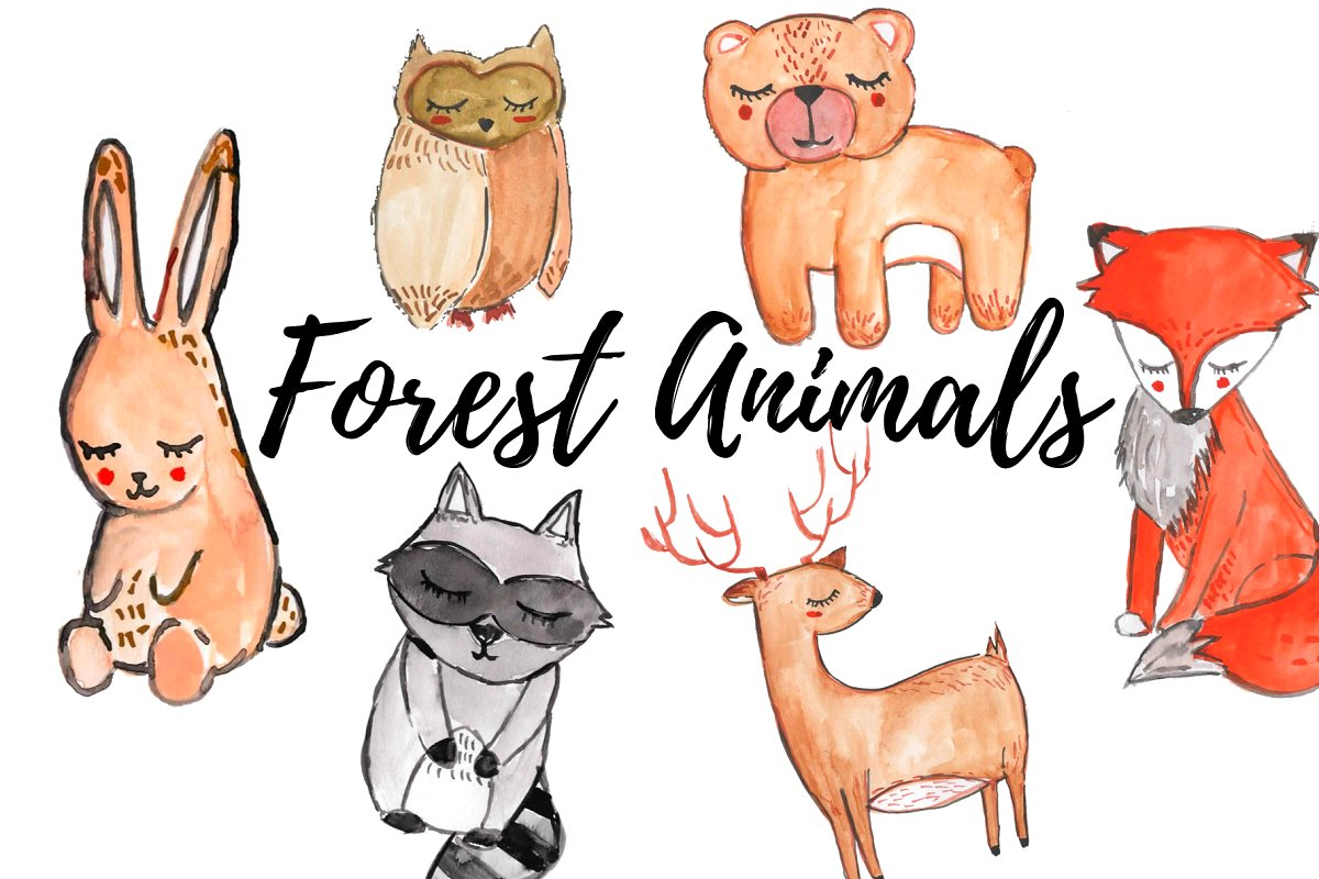 Clipart of different animals png transparent library Watercolor Forest Animal Clipart png transparent library