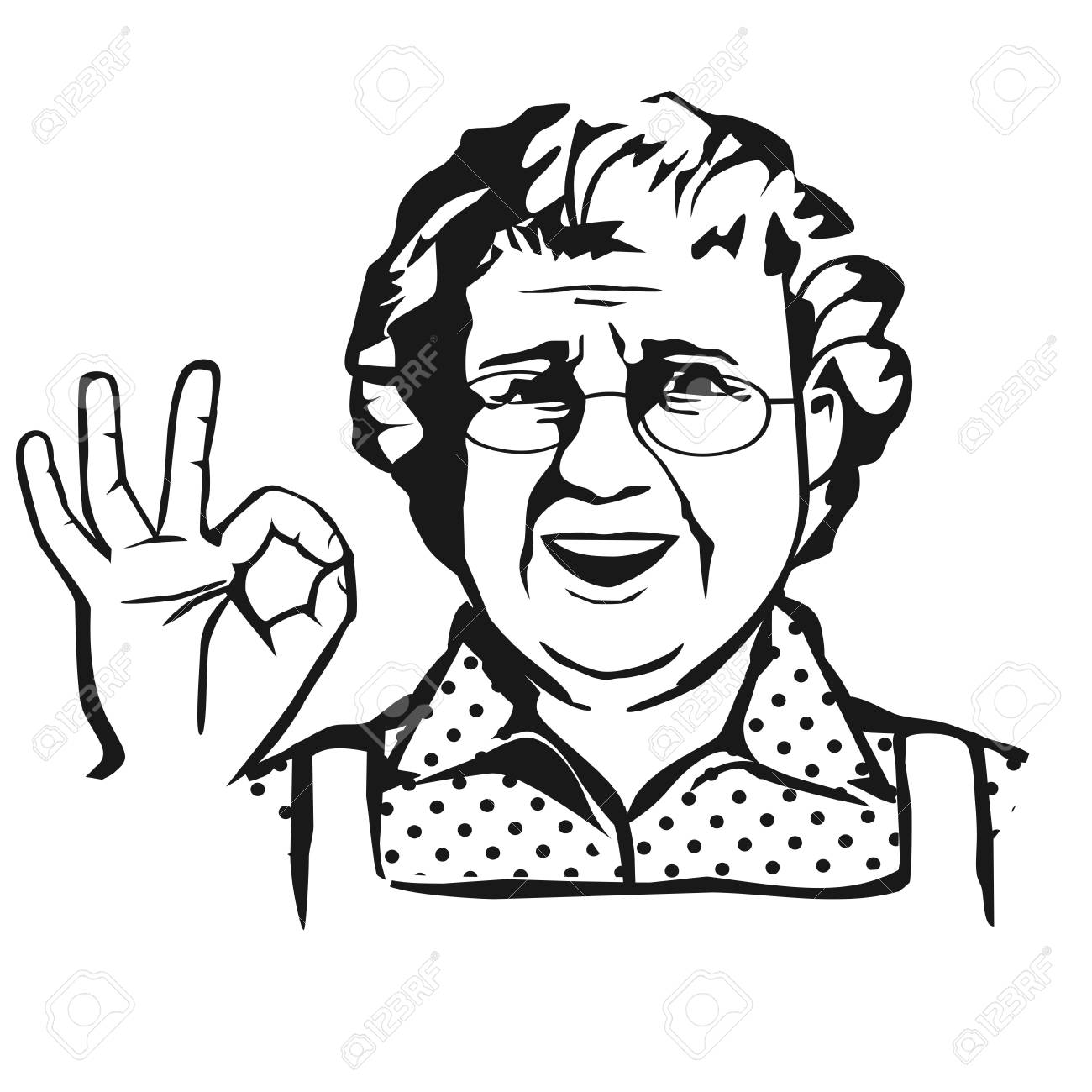 Clipart of elderly african american woman wearing glasses jpg black and white library Old Lady With Glasses Showing OK. Isolated #513140 - Clipartimage.com jpg black and white library
