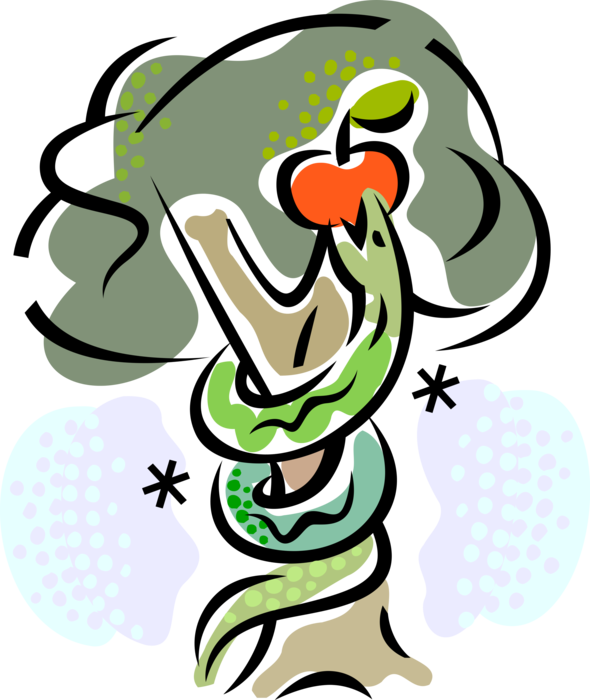 Clipart of eve with apple and snake image Adam and Eve with Snake and Forbidden Fruit - Vector Image image