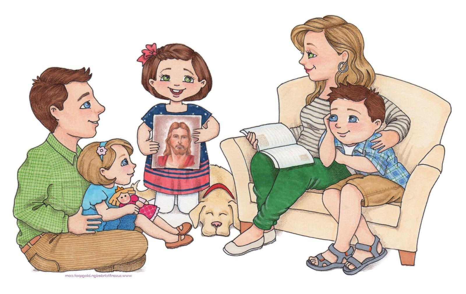 Picture of family praying together clipart