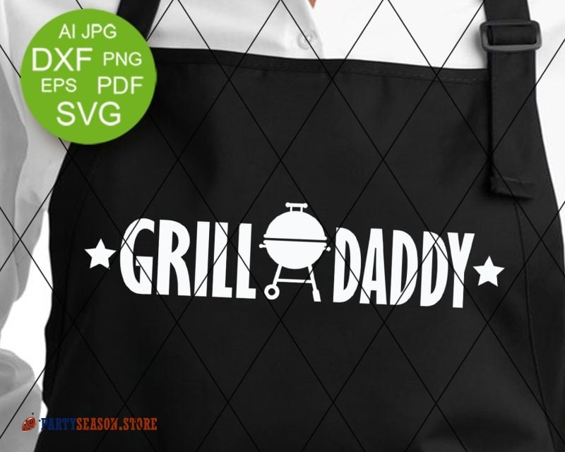 Clipart of fathers day svg grill png black and white stock Grill daddy svg files sayings Fathers day gift vector file Grill apron  decor Barbeque sign Grilling svg files for Cricut Dxf Png Silhouette png black and white stock