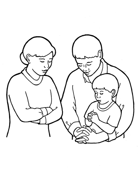 Father and son drawing clipart banner black and white stock Family of Three Praying banner black and white stock