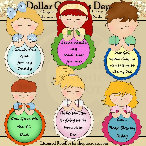 Clipart of fathers praying with their children clip art free stock Kids Praying for Dad - Clip Art - $1.00 : Dollar Graphics Depot ... clip art free stock