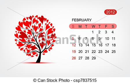 Vector art tree design. Clipart of february calendar