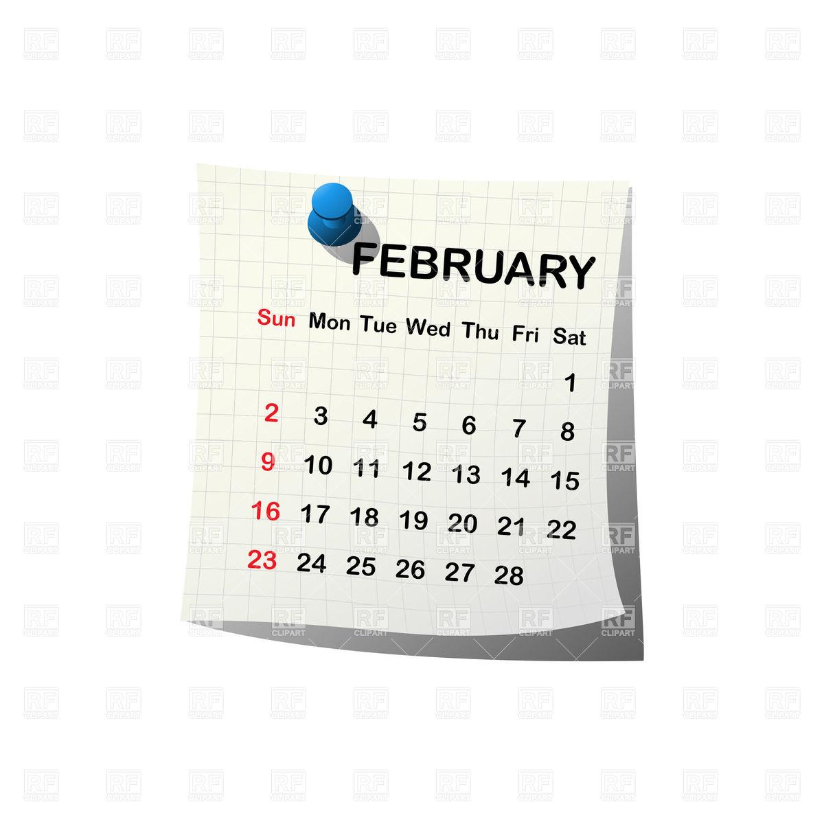 Clipart of february calendar. Month clipartfox
