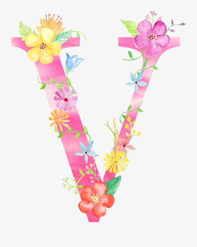 Clipart of flower letters that say pretty jpg free stock Flowers Letter V, Letter Clipart, Flower, Letter PNG Transparent ... jpg free stock