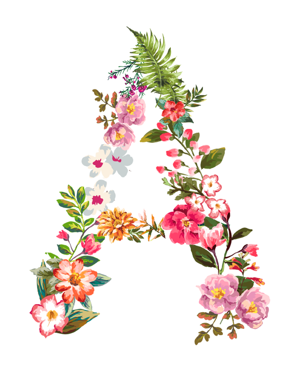 Clipart of flower letters that say pretty vector library stock Floral Letter Candle | Feed organizado in 2019 | Floral letters ... vector library stock