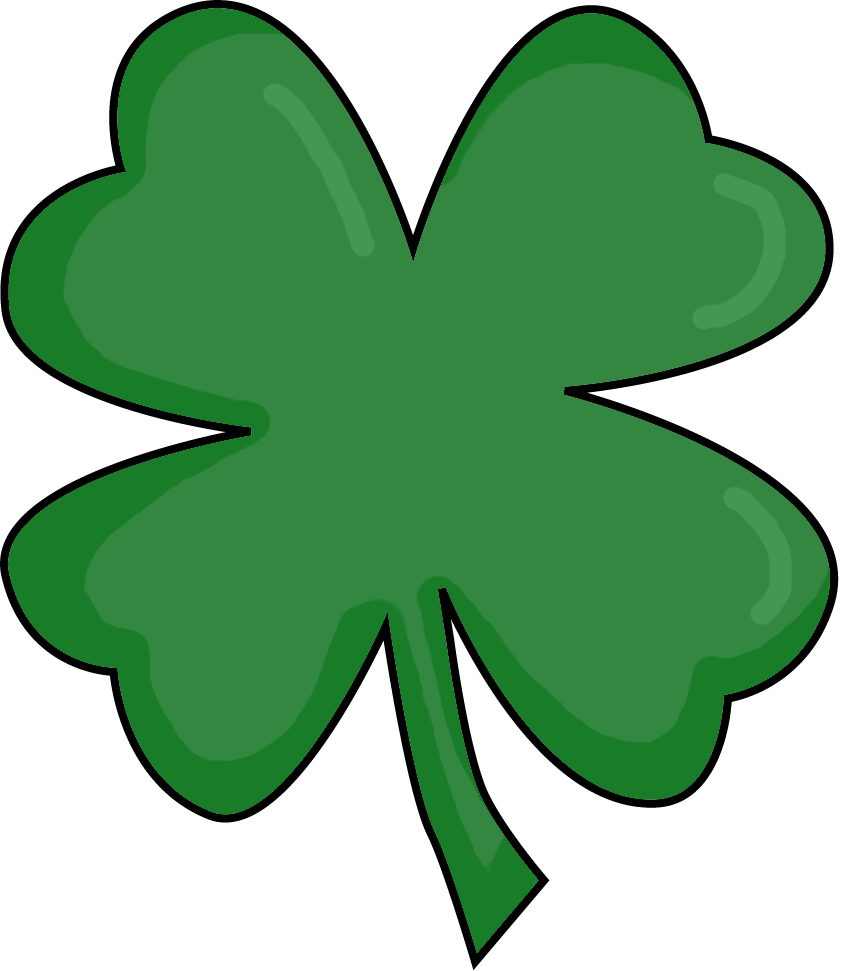 Shamrock w a face clipart transparent background image black and white library Four Leaf Clover Clipart & Look At Clip Art Images - ClipartLook image black and white library