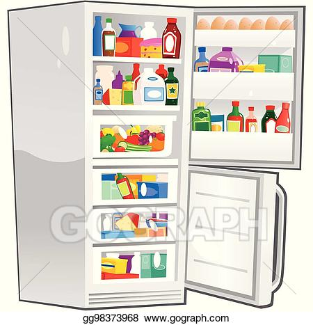 Clipart of fridge vector freeuse library Vector Clipart - Fridge freezer open. eps. Vector Illustration ... vector freeuse library