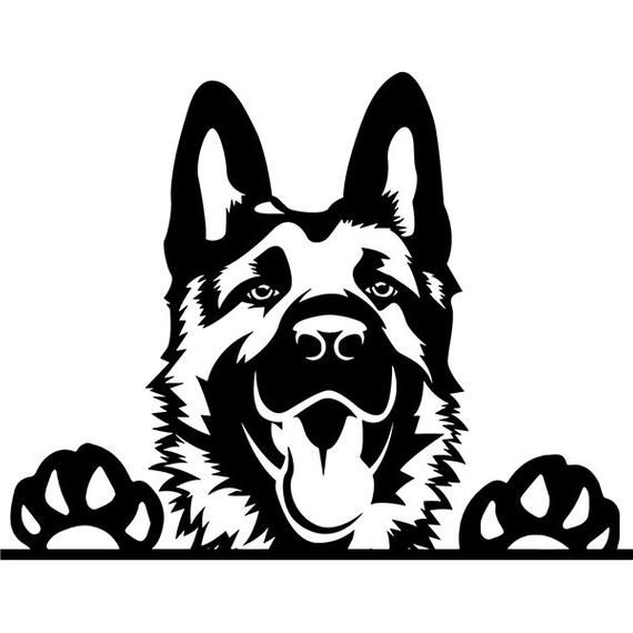 Clipart of german shepard with angel wings picture black and white library German Shepherd #109 Peeking Smiling Dog Breed K-9 Pet Police Cop ... picture black and white library