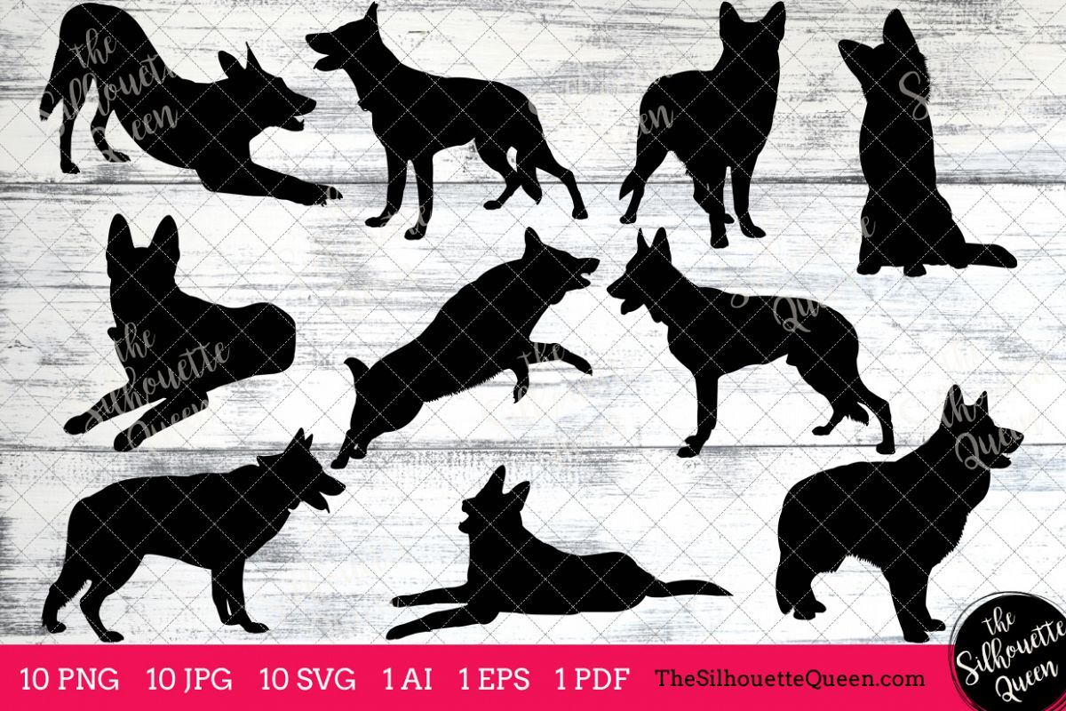Free german shepherd silhouette clipart clip art free stock German Shepherd Dog Silhouettes Clipart Clip Art (AI, EPS, SVGs, JPGs,  PNGs, PDF) , German Shepherd Vectors - Commercial and Personal Use clip art free stock