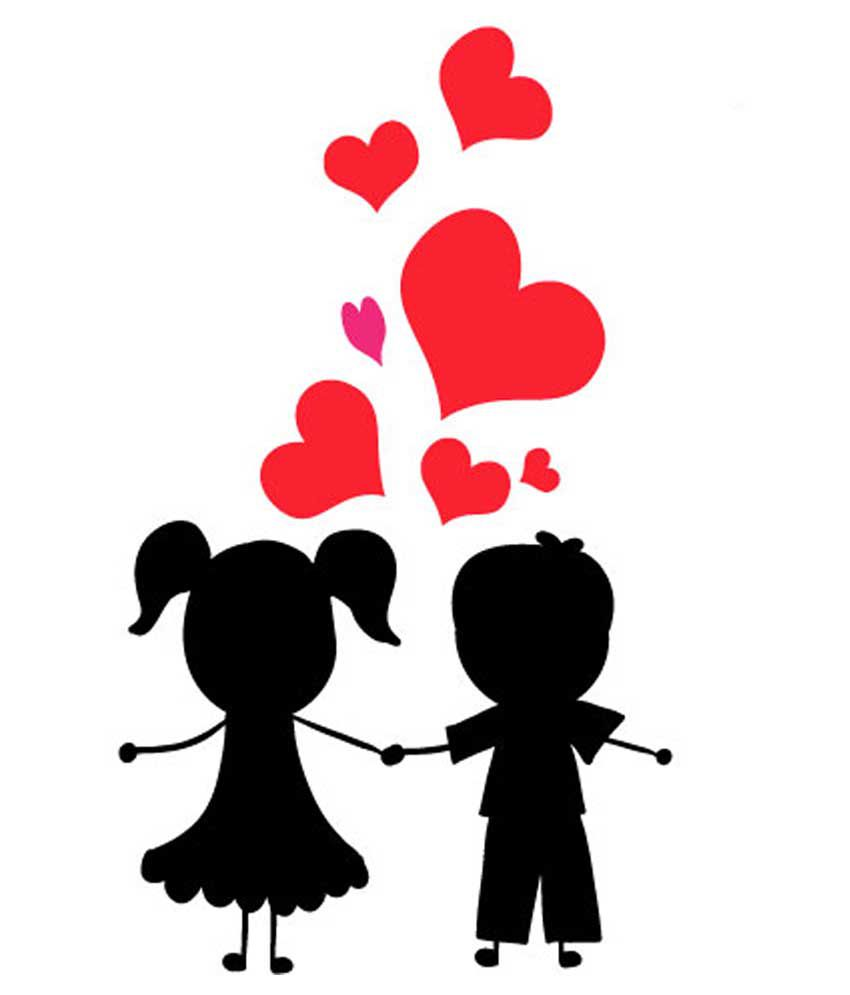 Clipart of girl and boy in love banner transparent download Epic Ink Black Girl Boy Love Wall Sticker banner transparent download
