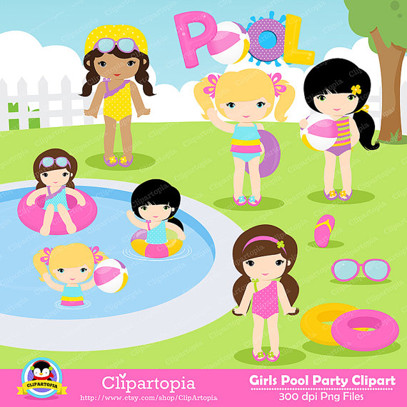 Clipart of girl at a party picture black and white library Free Girl Pool Cliparts, Download Free Clip Art, Free Clip Art on ... picture black and white library