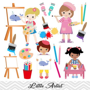 Clipart of girl at a party clip art black and white stock Digital Little Artist Girl Clip Art Painting Girl ClipArt Girl Art Party  Clipart clip art black and white stock