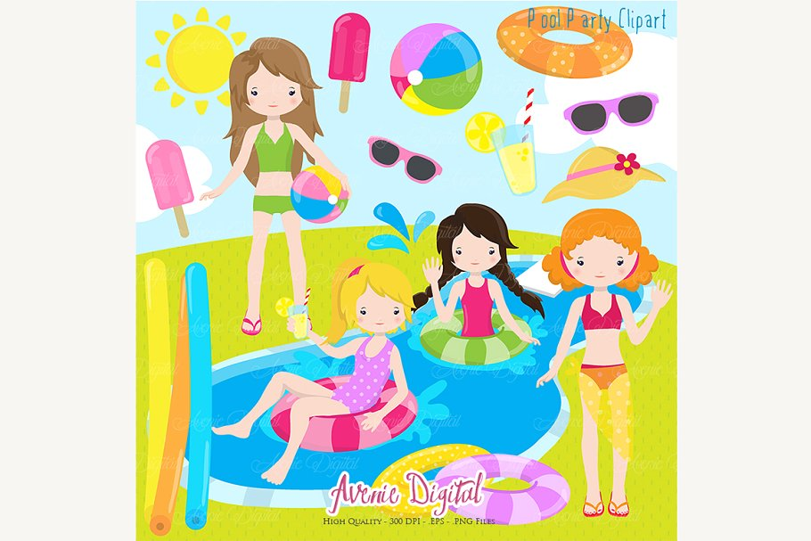 Clipart of girl at a party stock Girls Pool Party Clipart stock