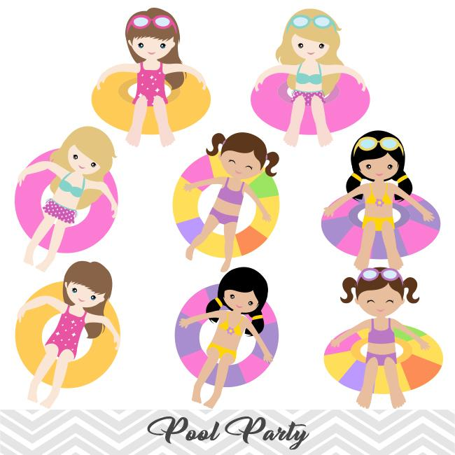 Clipart of girl at a party vector library Girls Pool Party Clip Art, Girls Swim Party Clipart, Summer Pool Party  Clipart, 00197 vector library