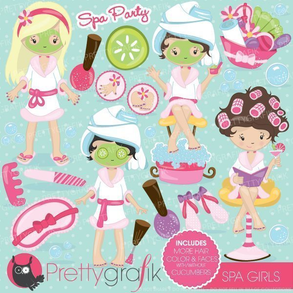 Clipart of girl at a party svg download Spa girls party clipart svg download
