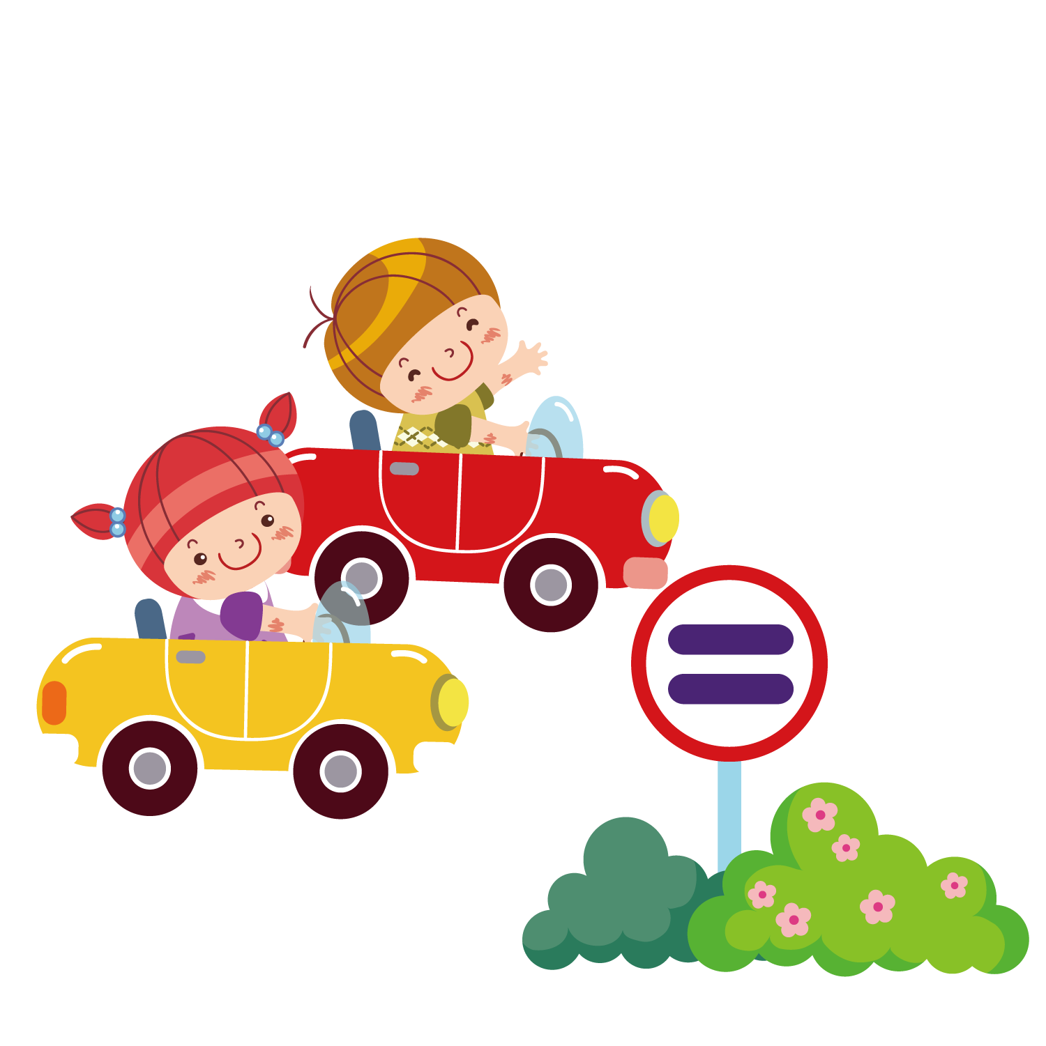Clipart of girl driving car jpg transparent download Boys and girls driving the car 1500*1501 transprent Png Free ... jpg transparent download