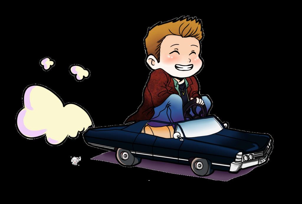 Clipart of girl driving car clip transparent Dean Winchester Chibi Riding Impala by PredieNerdie on DeviantArt clip transparent