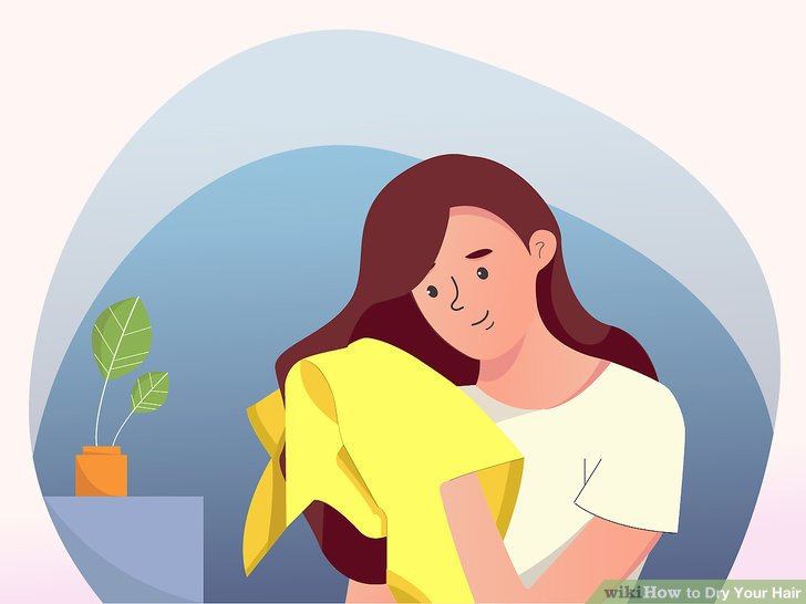 Clipart of girl drying har with towel and hairdryer