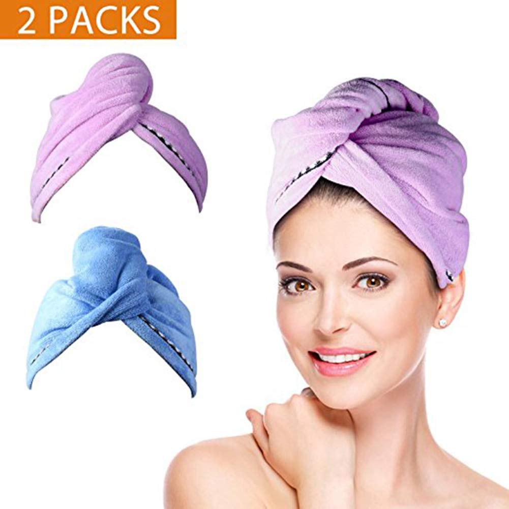Clipart of girl drying har with towel and hairdryer clip library 2 Pack Hair Towel Wrap Turban Microfiber Drying Bath Shower Head Towel with  Buttons, Quick Magic... clip library