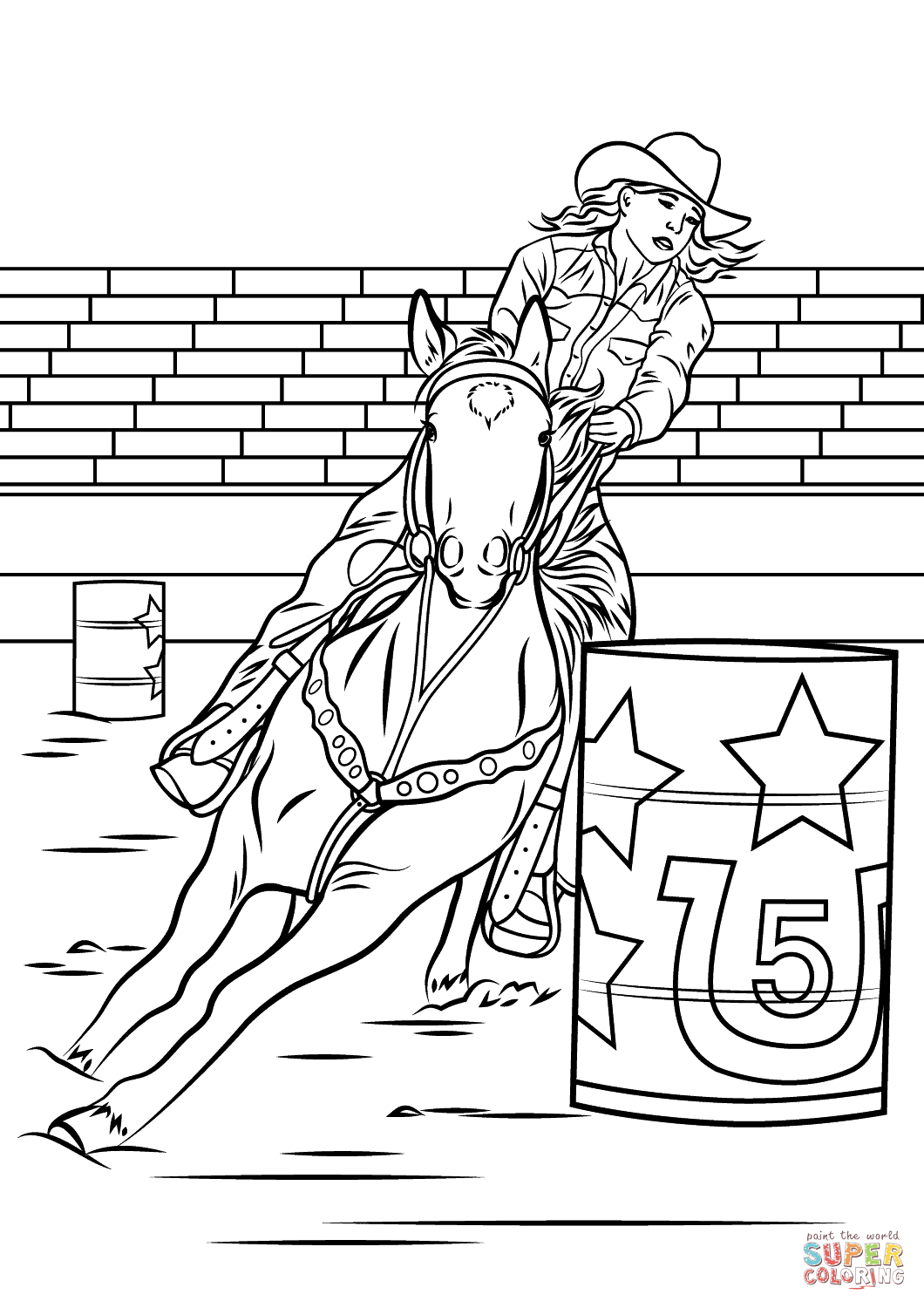 Clipart of girl riding a paint pony barrel racing svg transparent stock Horse Barrel Racing coloring page | Free Printable Coloring Pages svg transparent stock