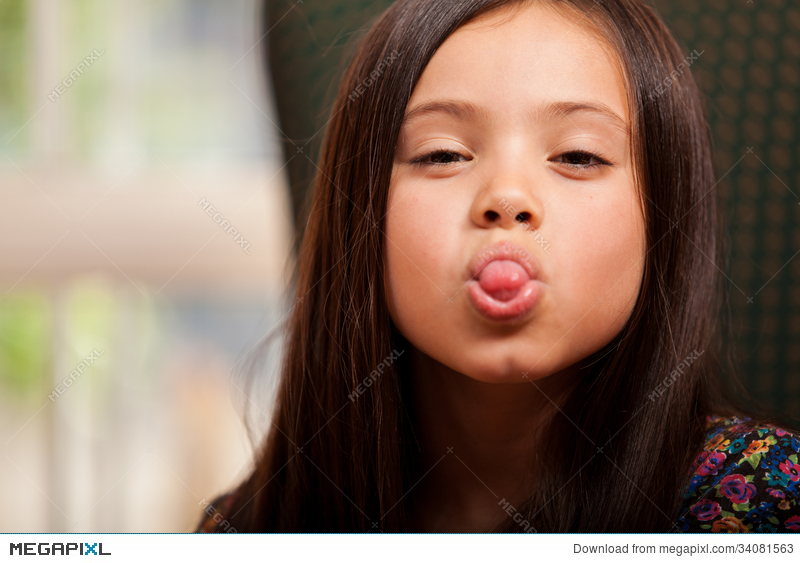 Clipart of girl sticking her tongue out clip black and white stock Little Girl Sticking Her Tongue Out Stock Photo 34081563 - Megapixl clip black and white stock