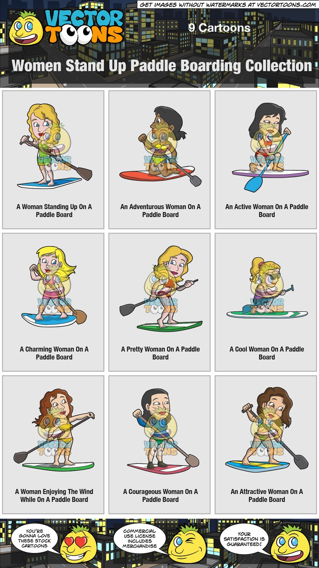 Clipart of girl with arms up enjoying the wind vector black and white download Women Stand Up Paddle Boarding Collection vector black and white download