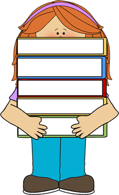 Clipart of girl with books vector Girl and books clipart - ClipartFest vector