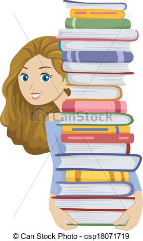 Clipart of girl with books clip freeuse Girl holding books clipart - ClipartFest clip freeuse