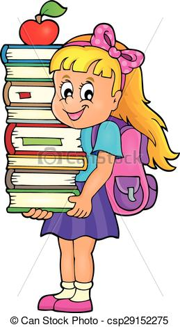 Clipart of girl with books graphic freeuse library Vectors Illustration of Girl holding books theme image 1 - eps10 ... graphic freeuse library