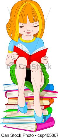 Clipart of girl with books svg royalty free library Vector Clipart of Girl reading book - Girl sitting on a pile of ... svg royalty free library