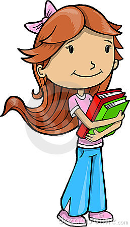 Clipart of girl with books banner freeuse stock Clipart of girl with books - ClipartFest banner freeuse stock