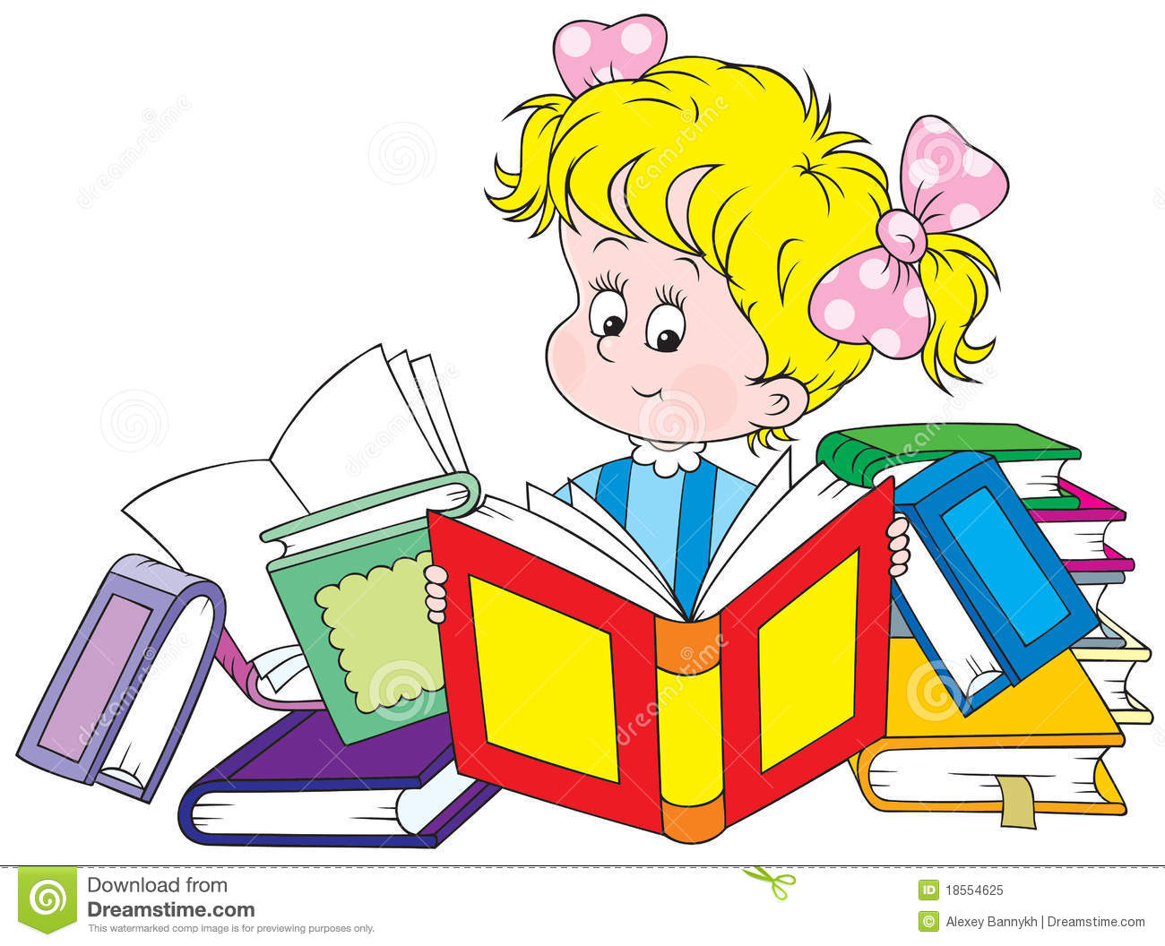 Clipart of girl with books vector Picture of little girl reading book clipart - ClipartFest vector