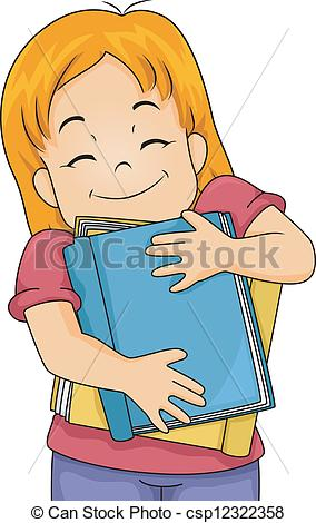 Clipart of girl with books freeuse stock Clipart Vector of Book Lover Girl - Illustration of a Girl Hugging ... freeuse stock