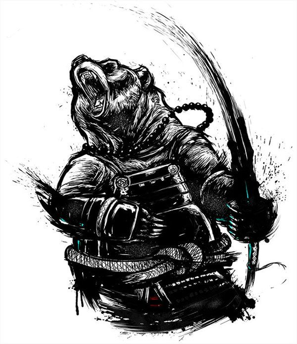 Clipart of grizzly bear with tattoos holding chainsaw graphic freeuse library Samurai Bear by Bruno Mota, via Behance | Art<3 in 2019 | Samurai ... graphic freeuse library