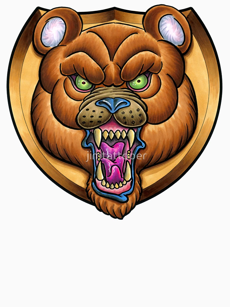 Clipart of grizzly bear with tattoos holding chainsaw jpg free library NeoTrad Angry Bear Trophy Tattoo Design | Long T-Shirt jpg free library