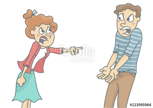 Clipart of group of yelling screaming man or woman graphic freeuse stock Young woman and man in quarrel, screaming and shouting at each other ... graphic freeuse stock